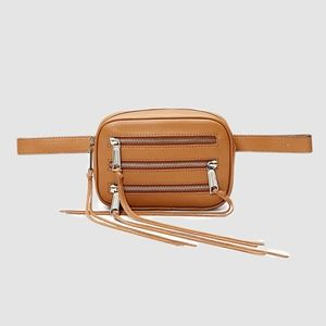 3 ZIP LEATHER BELT BAG ALMOND DESSERT TAN